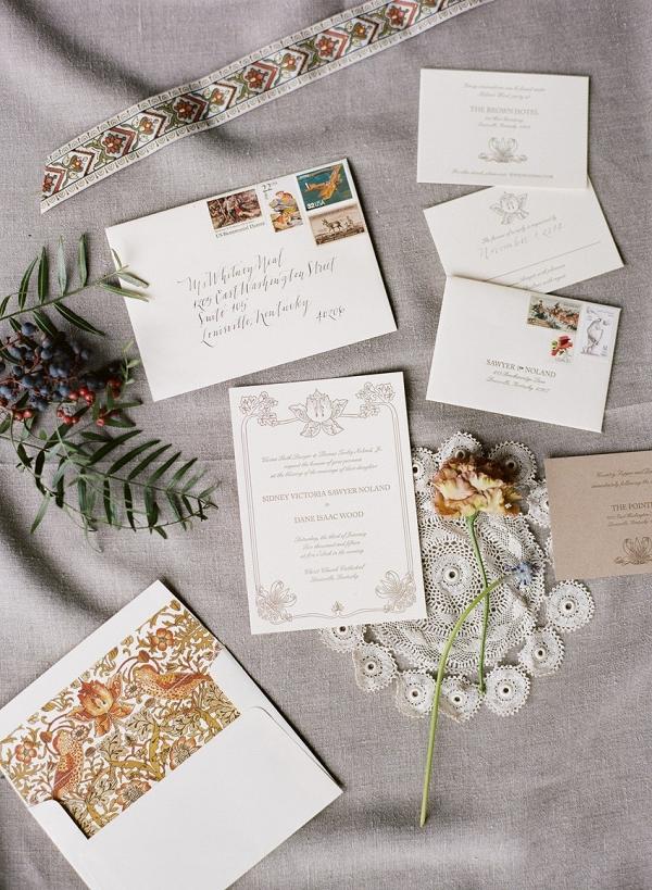 Vintage Letterpress & Calligraphy Wedding Invitation Suite