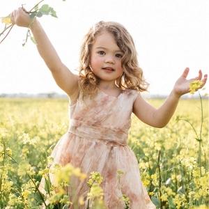 'Vintage Floral' Tulle Flower Girl Dress