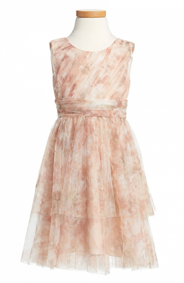 'Vintage Floral' Tulle Flower Girl Dress