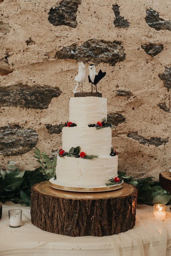 Wedding Cake with Bird Cake Topper
