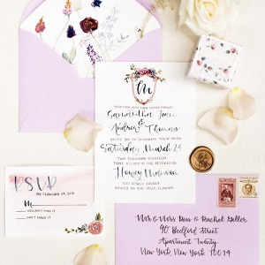 Calligraphy watercolor wedding invitation