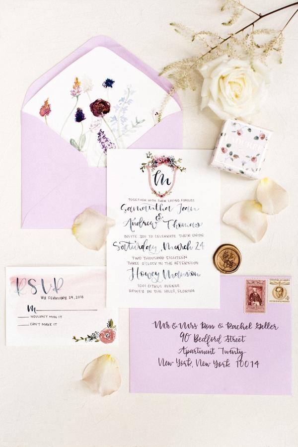 Calligraphy watercolor wedding invitation