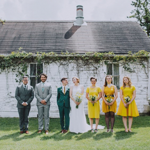 Yellow and green bridal party