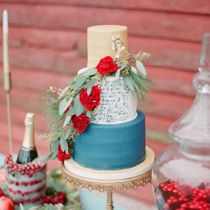 Holiday Season Calligraphy Wedding Cake