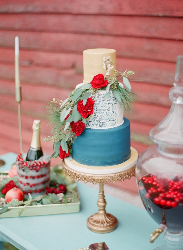 Holiday Season Calligraphy Wedding Cake