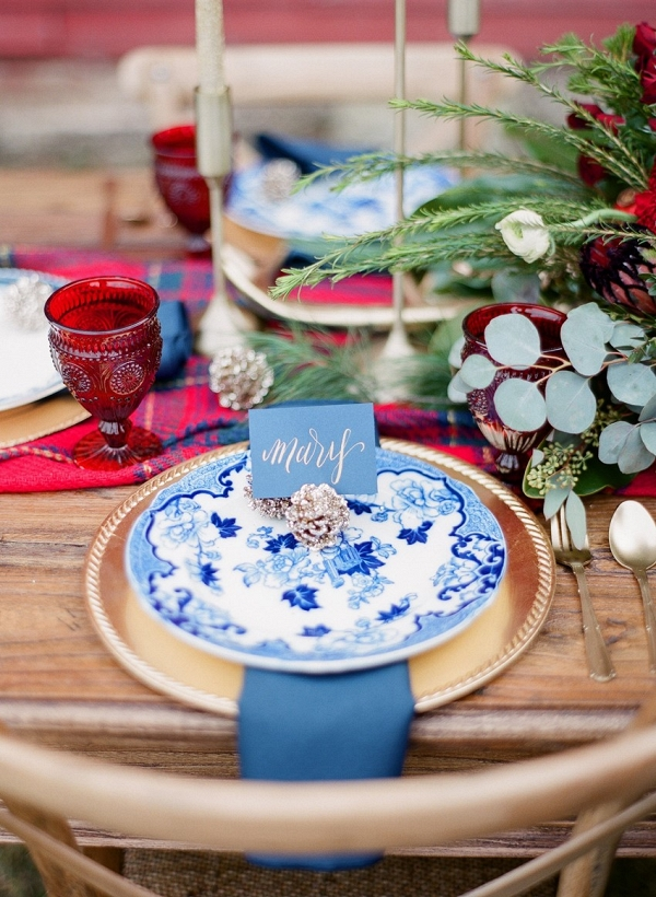 Red, White & Blue Holiday Season Wedding Place Setting