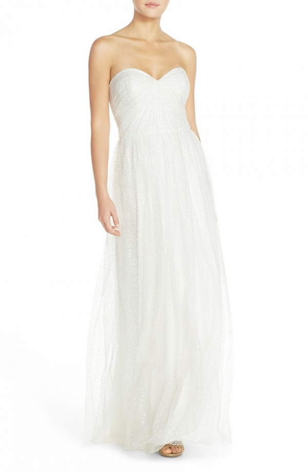 'Betts' Sequin Tulle Column Wedding Dress with Removable Spaghetti Straps