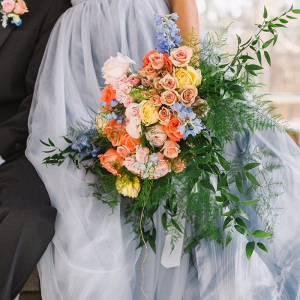 Orange and blue bridal bouquet
