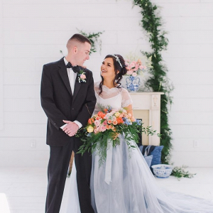 Blue and peach wedding portrait