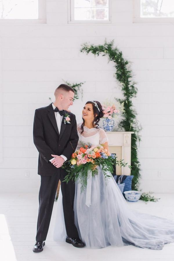 Blue and peach wedding portrait