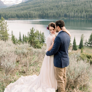 Romantic mountain wedding couple