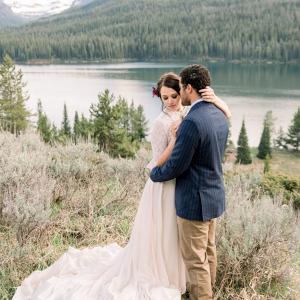 Romantic mountain wedding couple