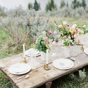 Rustic vintage mountain wedding table