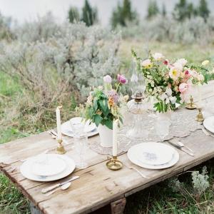Rustic vintage mountain wedding table