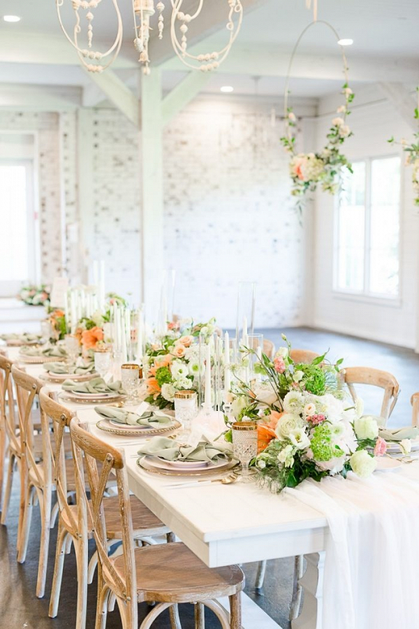 Peach and white farmhouse wedding table