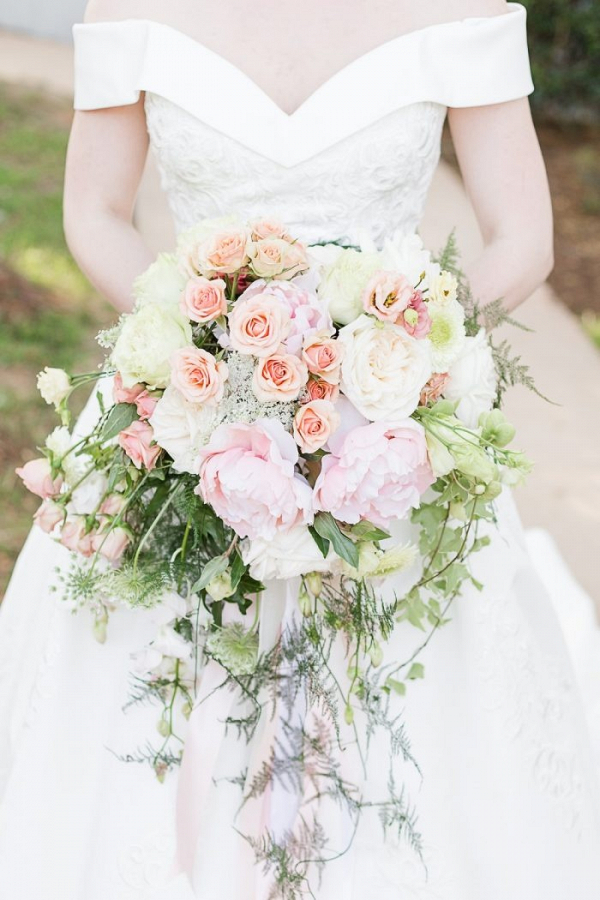 Oversized light peach bridal bouquet