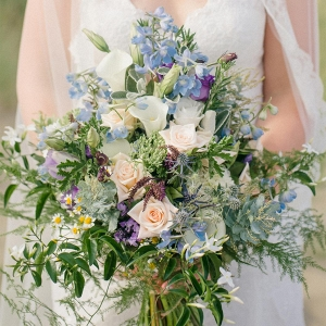 A Wild Blue Bouquet for a Beach Wedding