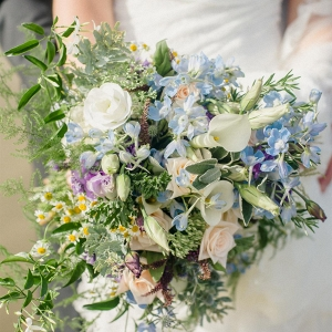 A Wild Blue Bridal Bouquet for a Beach Wedding