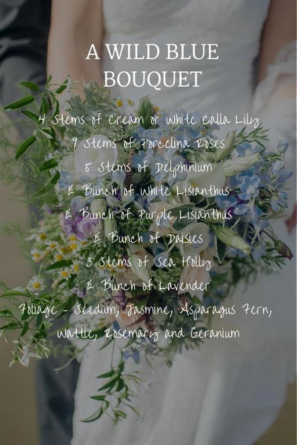 A Wild Blue Bridal Bouquet for a Beach Wedding