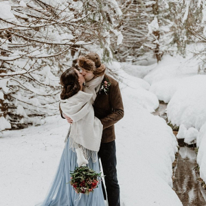 Snowy forest wedding in the mountains
