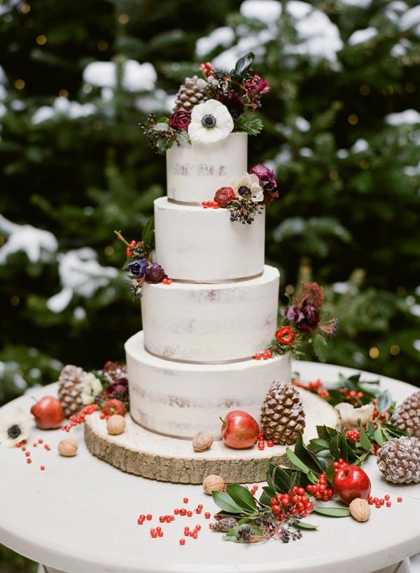 Elegant rustic winter wedding cake