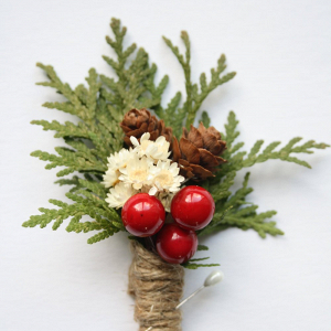 Christmas Berry Boutonniere
