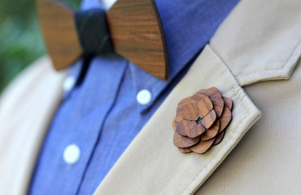 Wooden Lapel Flower