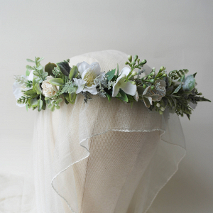 Greenery & Ivory Flower Crown
