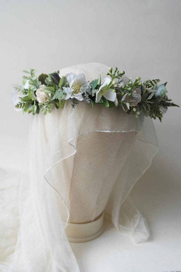 Greenery & Ivory Flower Crown