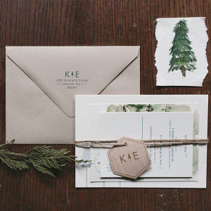 Watercolor Woodland Wedding Invitation
