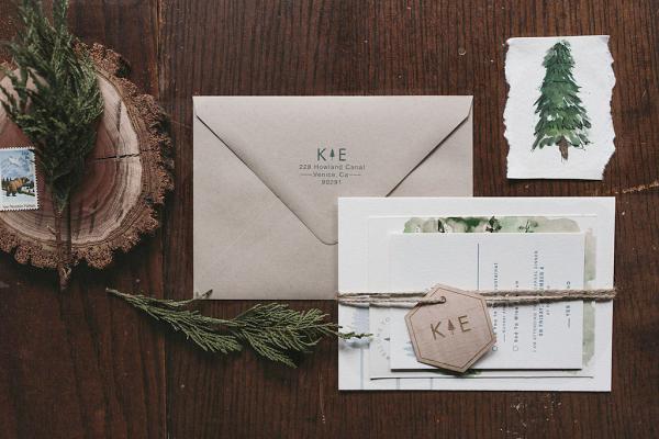 Watercolor Woodland Wedding Invitation