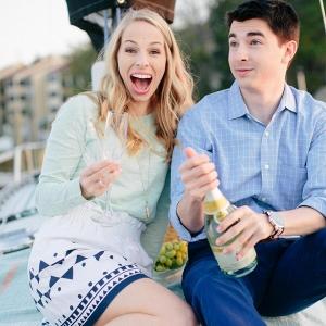Coastal preppy picnic engagement