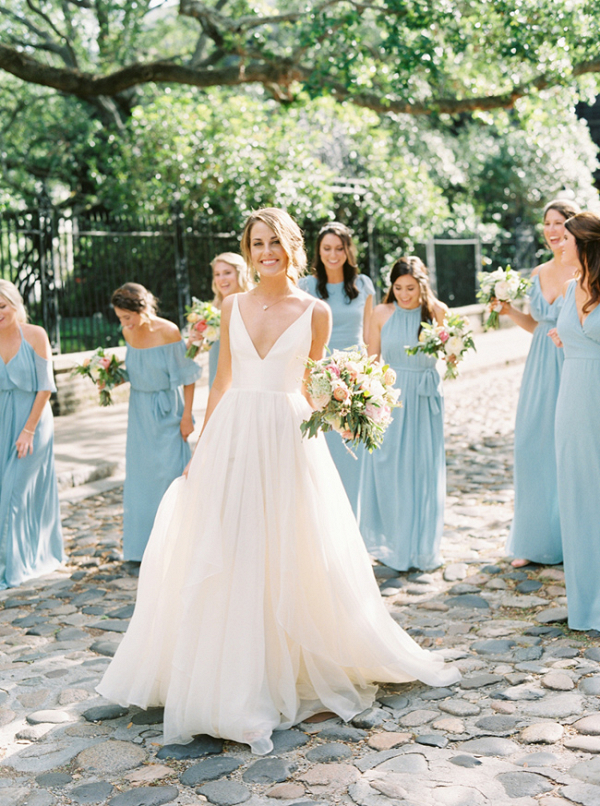 Charleston Wedding With Blue  Bridesmaids Dress