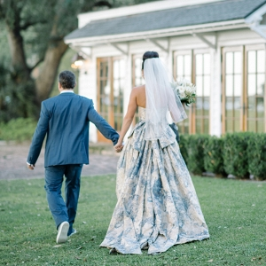 China Blue Pattern Yolan Chris Wedding Gown