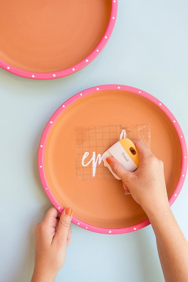 DIY Calligraphy Terracotta Plates