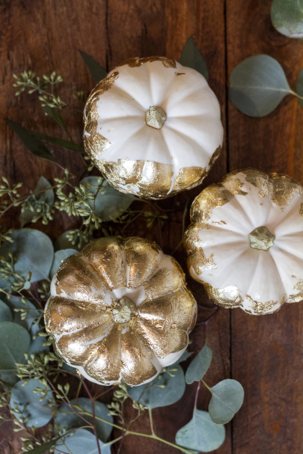 White Pumpkins With Gold Leaf