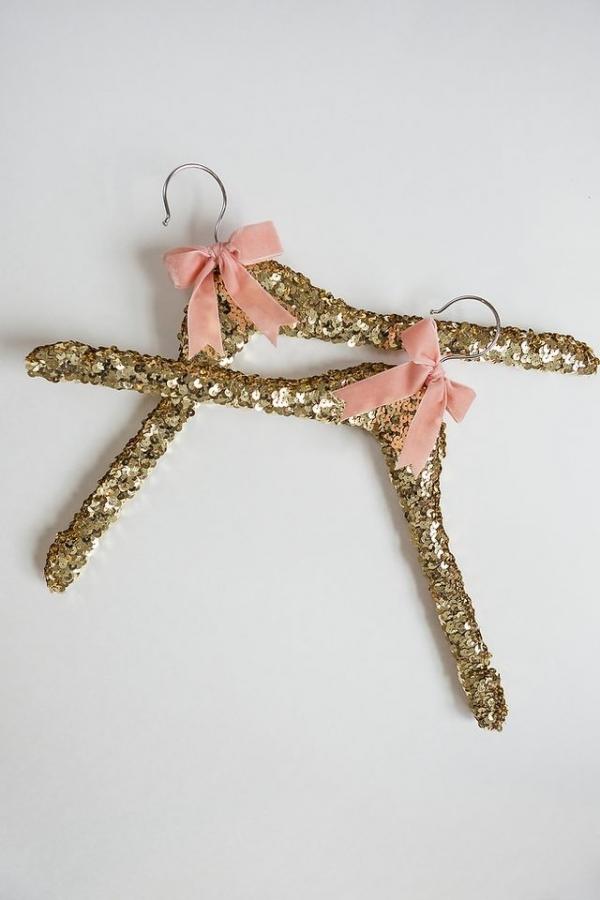 DIY Sequin Wedding Gown Hangers
