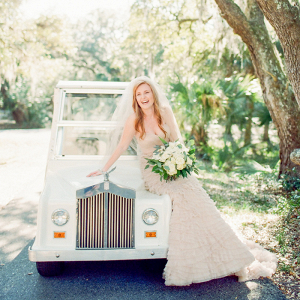 Blush Wedding Gown And Golf Cart