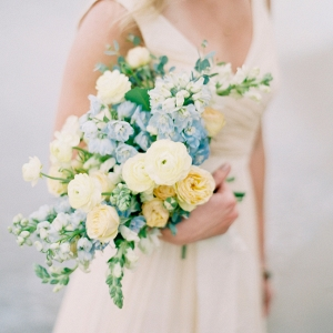 Soft Yellow Blue And Cream Bouquet