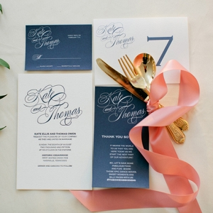 Navy Blue Wedding Stationery With Calligraphy