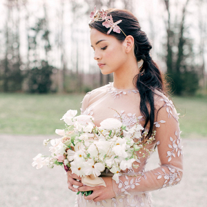 Bride In Lavender Embellished Wedding Dress