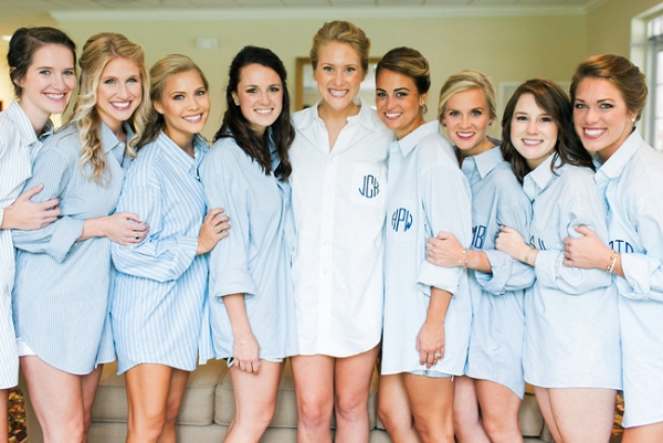 Bridesmaids In Matching Monogrammed Shirts