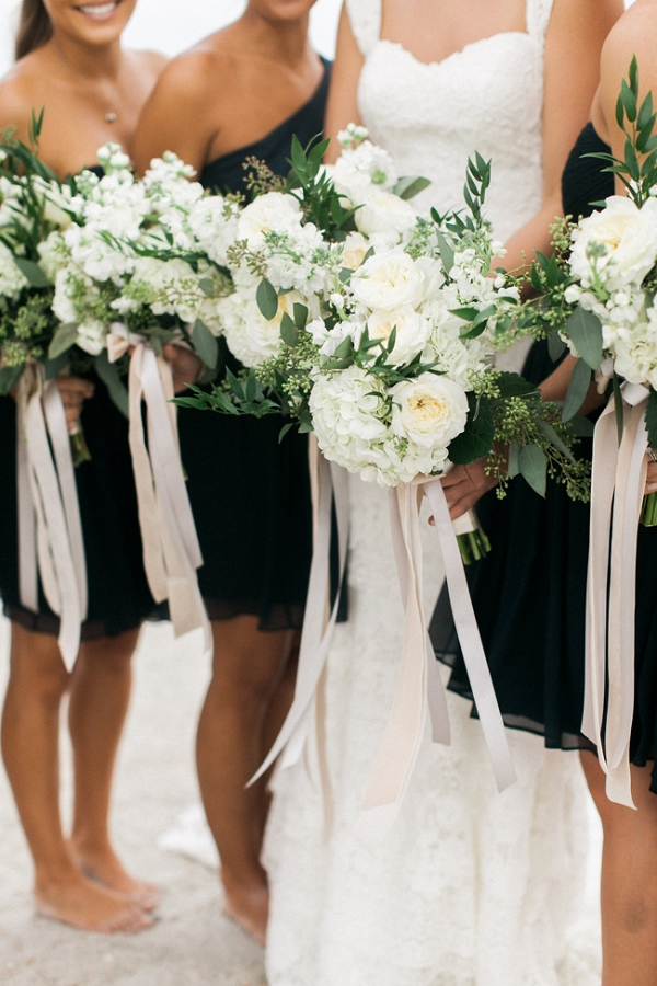 Navy And White Bridal Party With White Bouquets