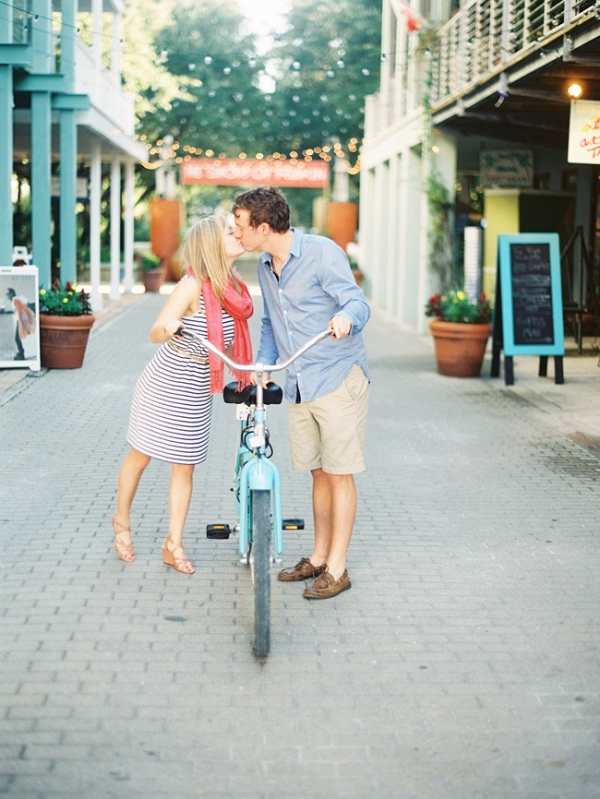 Seaside Florida Engagement Featuring A Bicycle