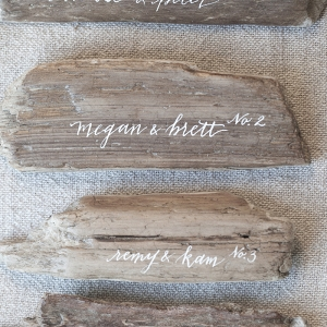 Rustic Calligraphy Driftwood Place Cards