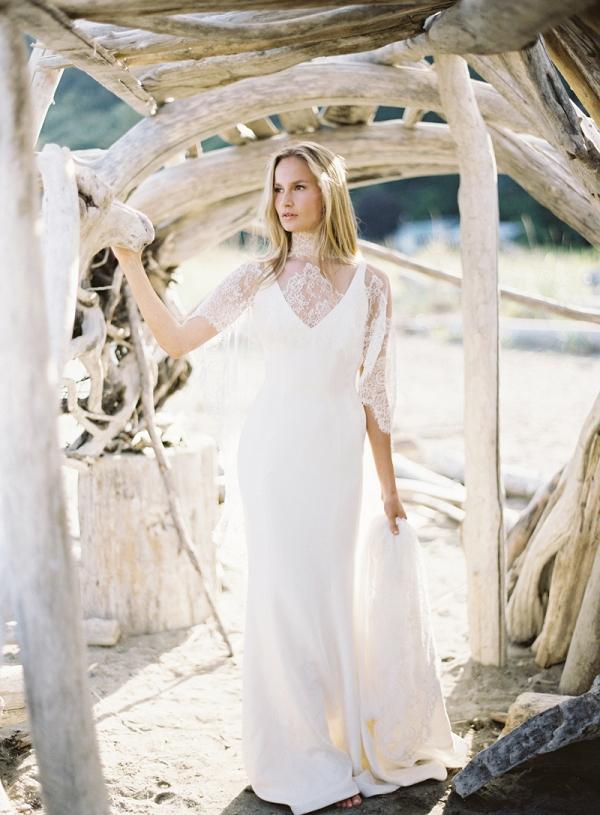Coastal Bridal Portraits On Driftwood Beach
