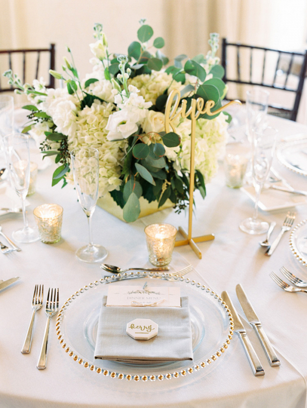 White, Gold, And Marble Place Setting