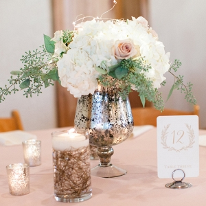 Hydrangea and Seeded Eucalyptus Centerpiece