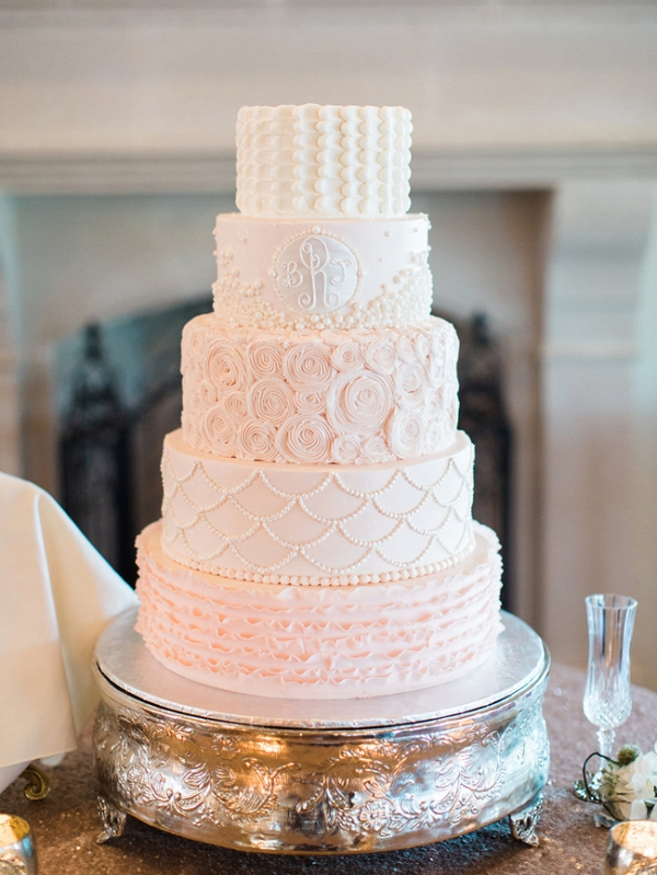 Five Tiered Pastel Wedding Cake