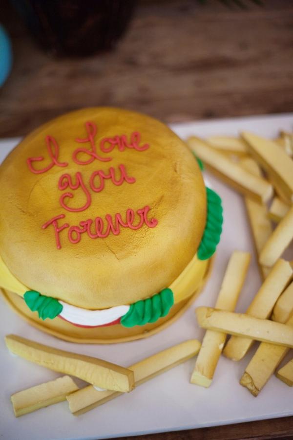 Burger and fries wedding cake